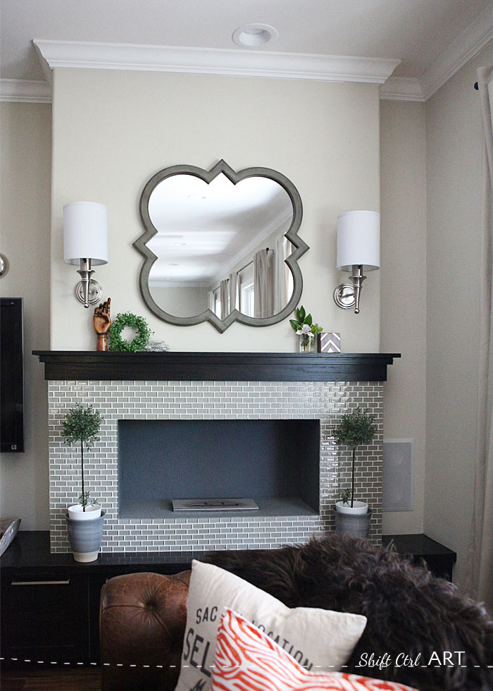 DIY ethanol fire place glass tile entertainment center 1