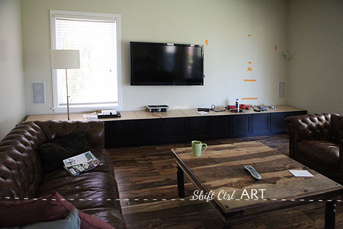 DIY ethanol fire place glass tile entertainment center 3
