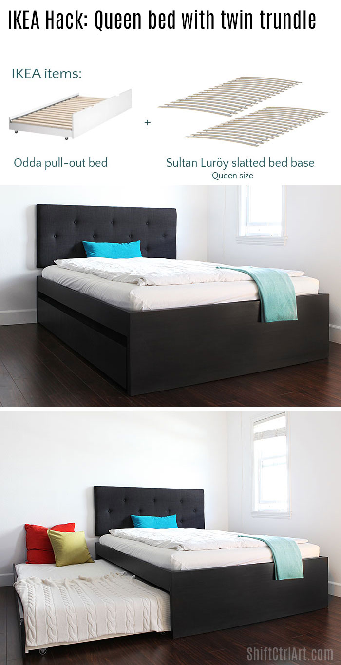 how to build a queen bed with twin trundle ikea hack. Black Bedroom Furniture Sets. Home Design Ideas