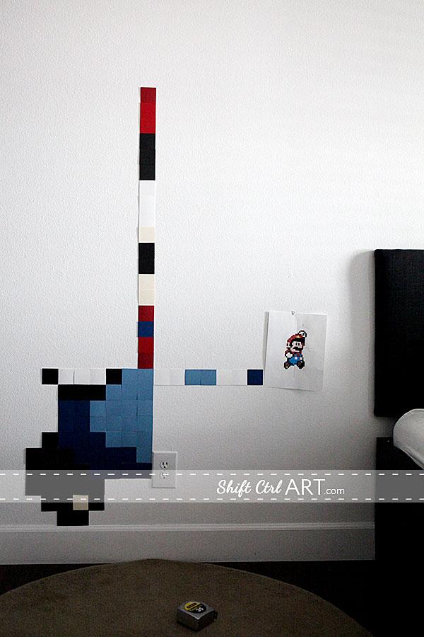 Pixel wall art - Mario gets SUPER sized