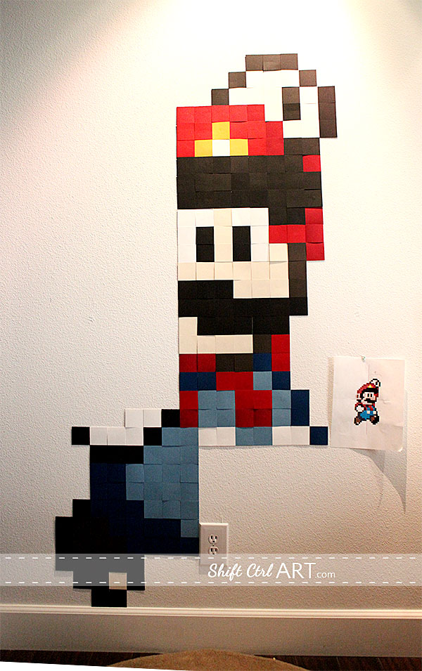 pixel wall art mario gets super sized