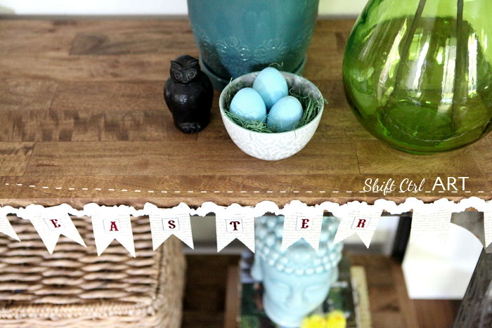 Easter Vignette bunting chickens living room