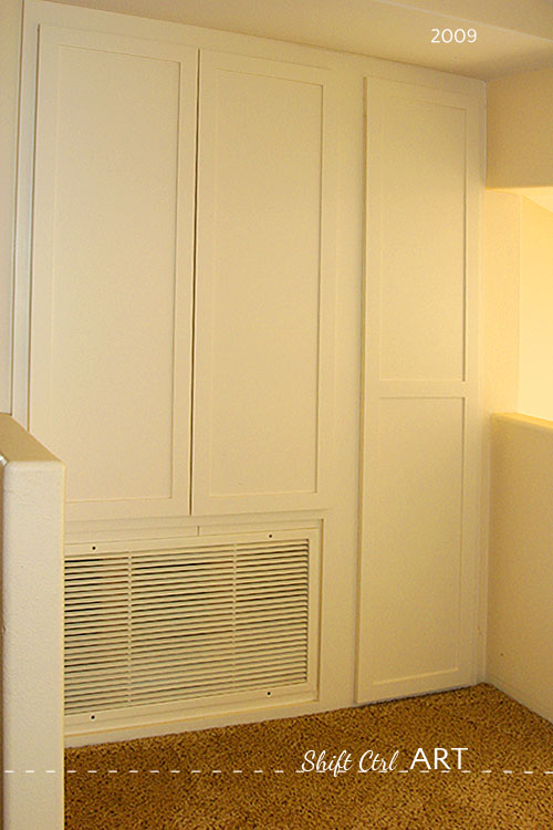 Upstairs hall cabinets wall storage reveal