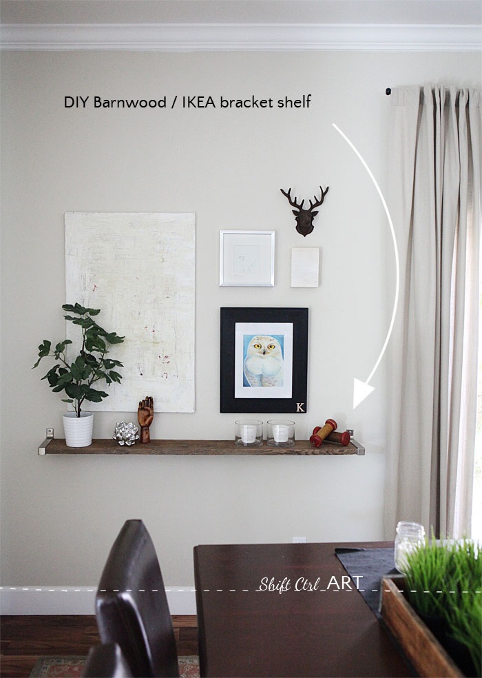 barnwood IKEA EKBY DIY shelf in dining room 12