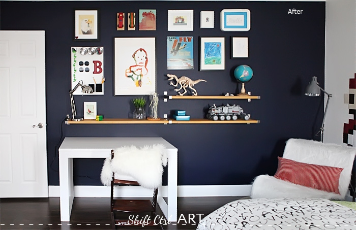 Bs blue wall tween make over reveal diy desk and shelves IKEA hack