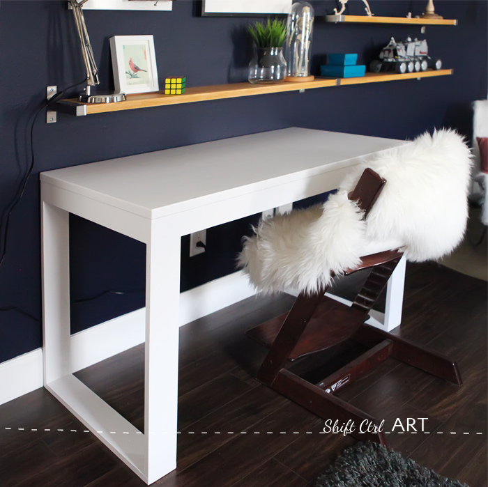 Bs blue wall tween make over reveal diy desk and shelves IKEA hack 5