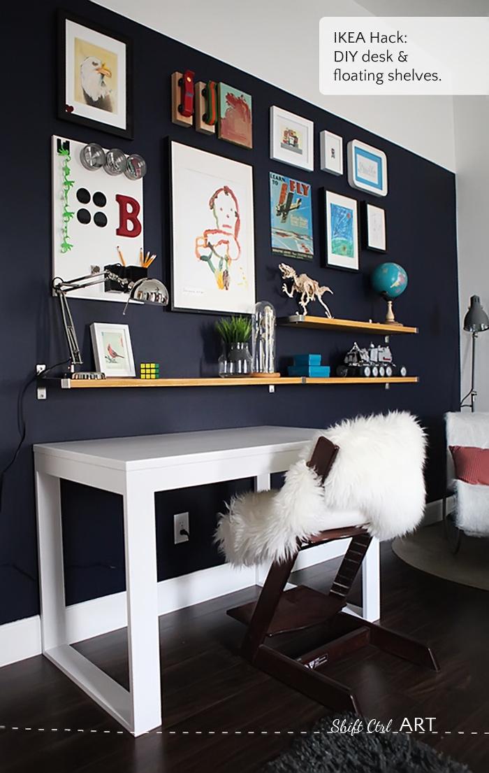 White Floating Shelf For A Boys Room
