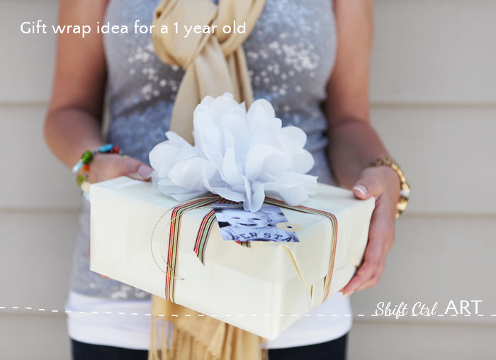 Gift wrap idea for a one year old photographers playground action gift tag