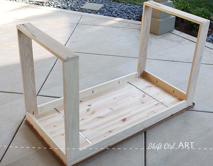 How to build a white modern desk with miter saw and kreg jig 1