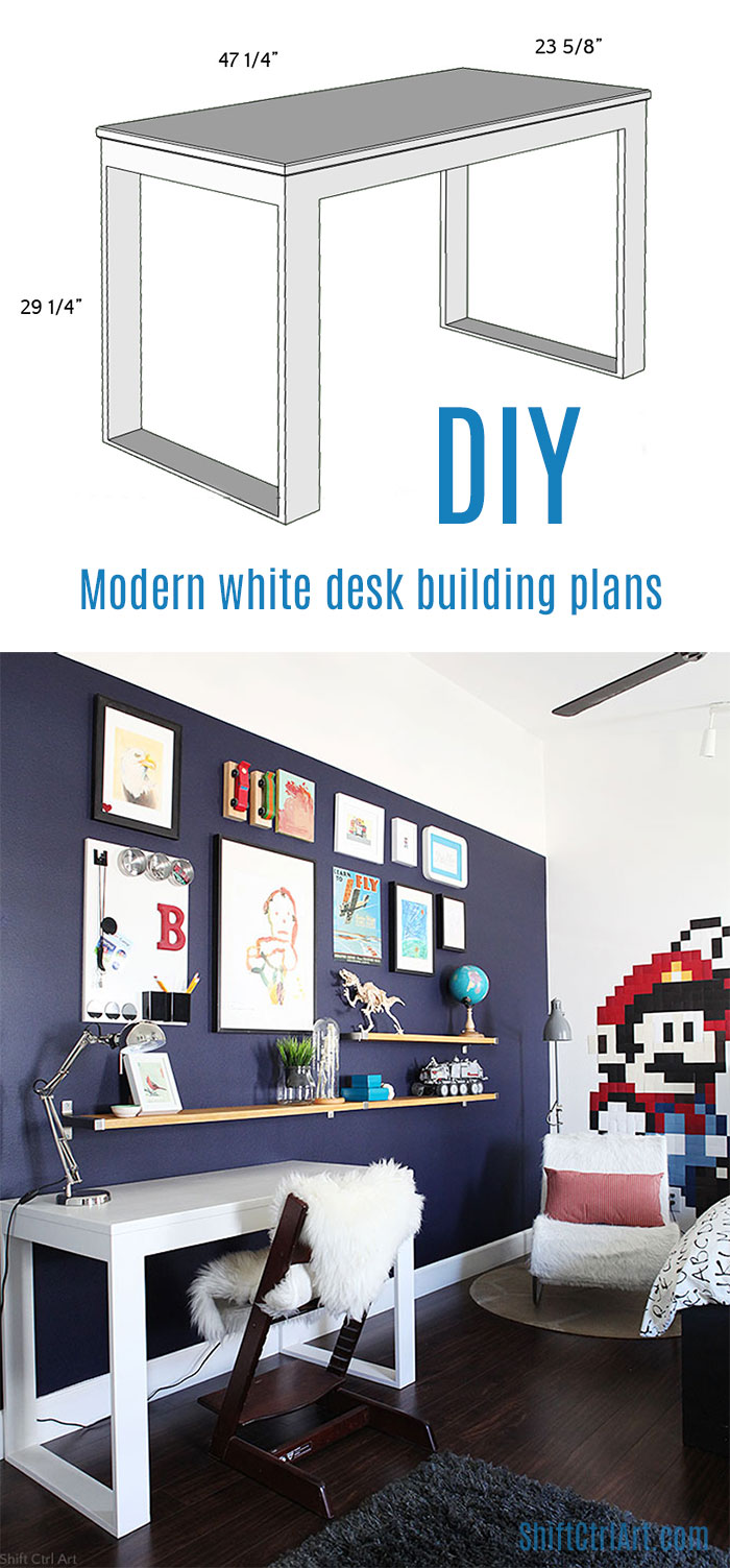 #modern #white #desk building plans. Built with miter saw and #Kreg jig