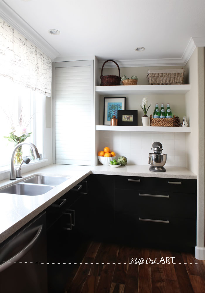 Kitchen remodel after IKEA Caesar stone Acacia hardwood.DIY
