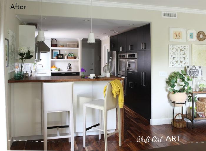 Kitchen remodel after IKEA Caesar stone Acacia hardwood.DIY