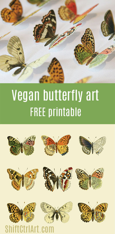 #Vegan #butterfly framed #art #paper #craft #free #printable