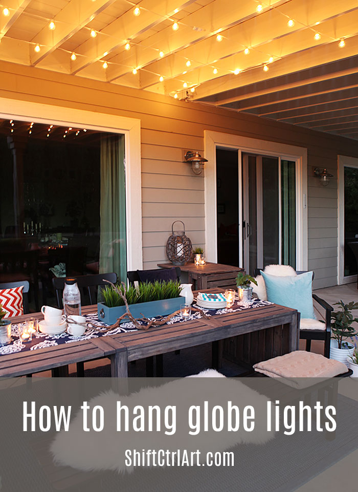 #Globe #lights #hanging them up over the #patio dining area - How To: Hanging Globe Lights Over The Patio Dining Area