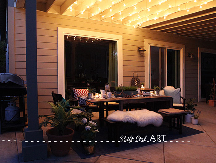 Patio outdoor dining area reveal 16 - How To: Hanging Globe Lights Over The Patio Dining Area
