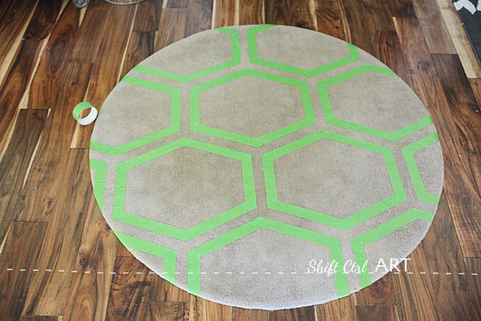 Ringum IKEA rug green frog tape painted with fabric paint 1