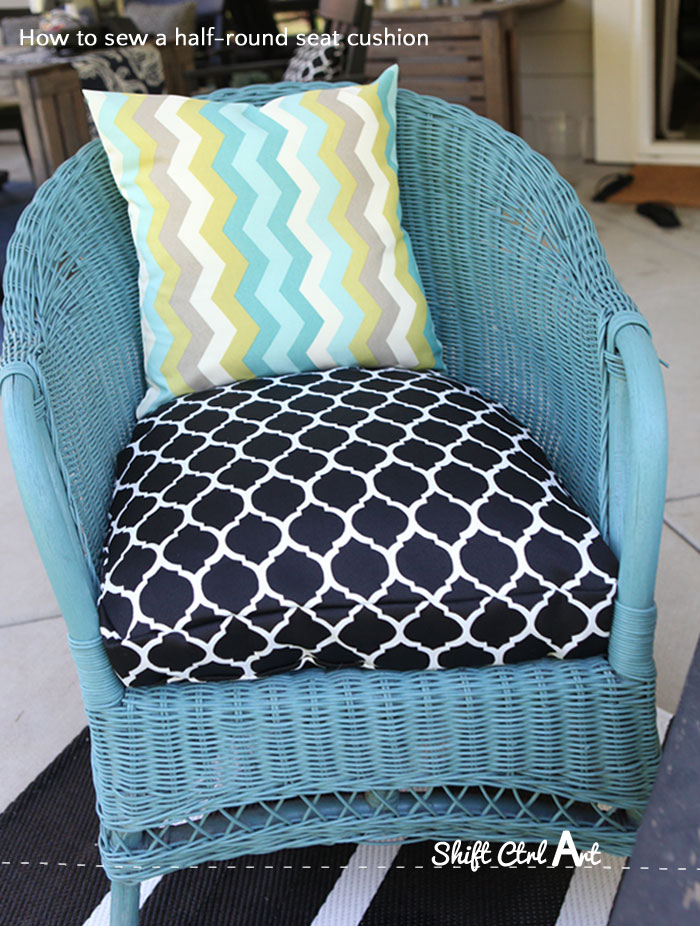 How to sew a half round seat cushion cover for my for Garden furniture seat cushion covers
