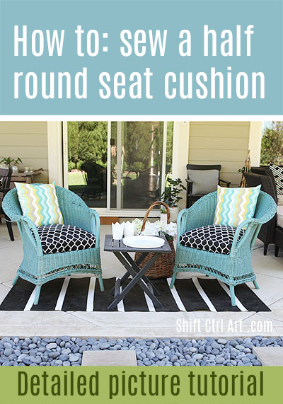 how to sew a half round seat cushion cover for my outdoor wicker chairs. Black Bedroom Furniture Sets. Home Design Ideas