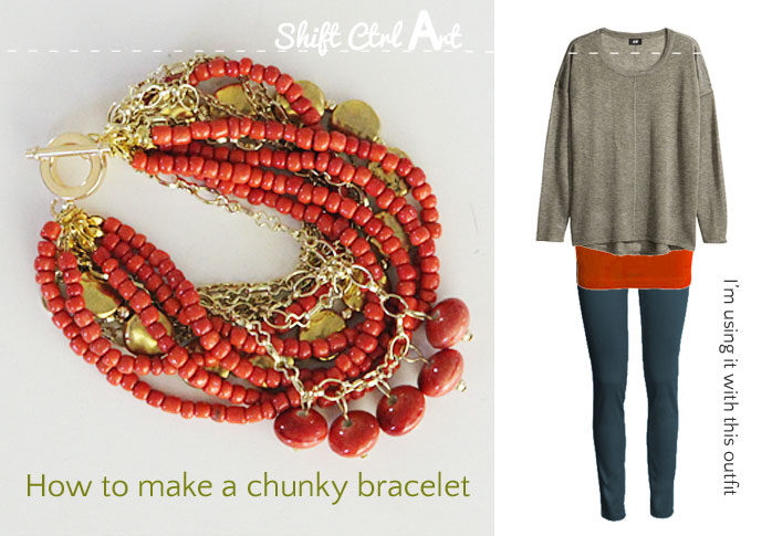how to make a chunky bracelet jewelry 2