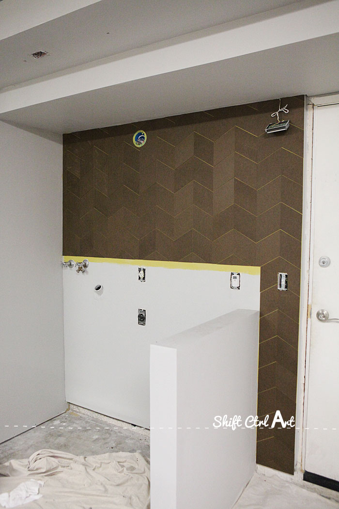 Garage chevron wall hard board 1