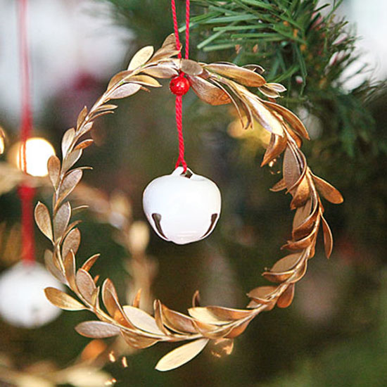 Gold leaf jingle bell ornament