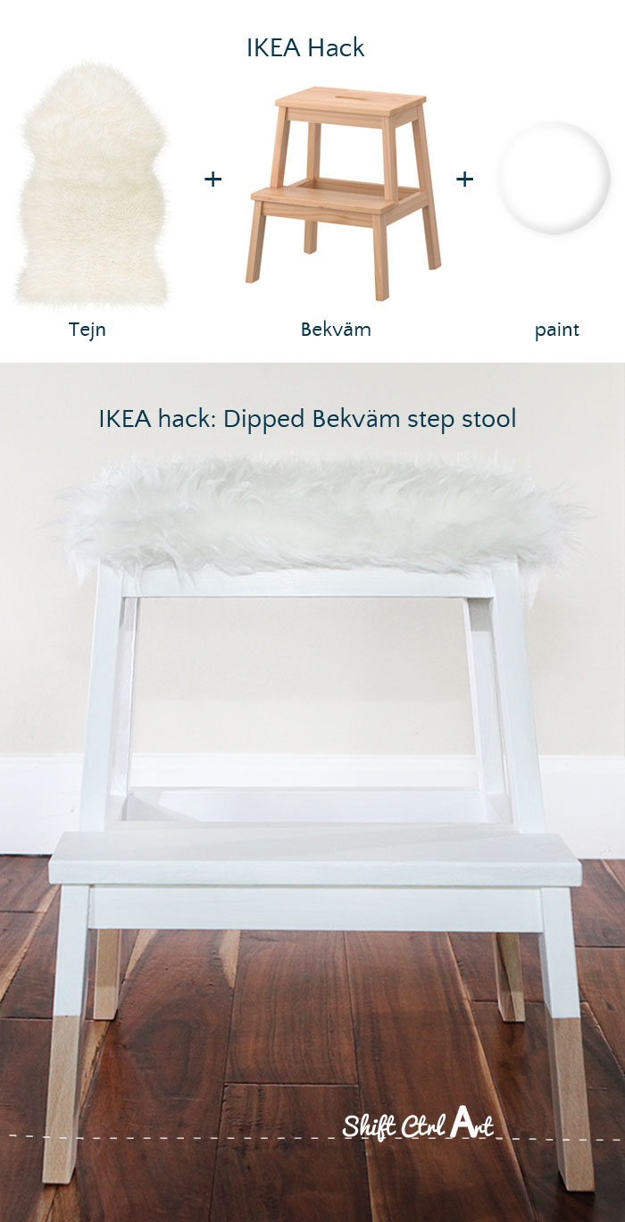 ikea hack dipped bekv m step stool with tejn faux sheep. Black Bedroom Furniture Sets. Home Design Ideas
