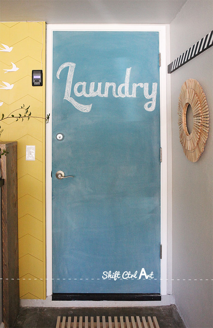 Laundry Room Reveal Clothes Pin Art And Chalk Board Door
