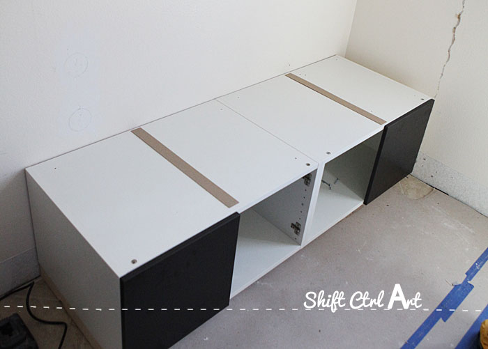 Shorten IKEA cabinets built in bench 1