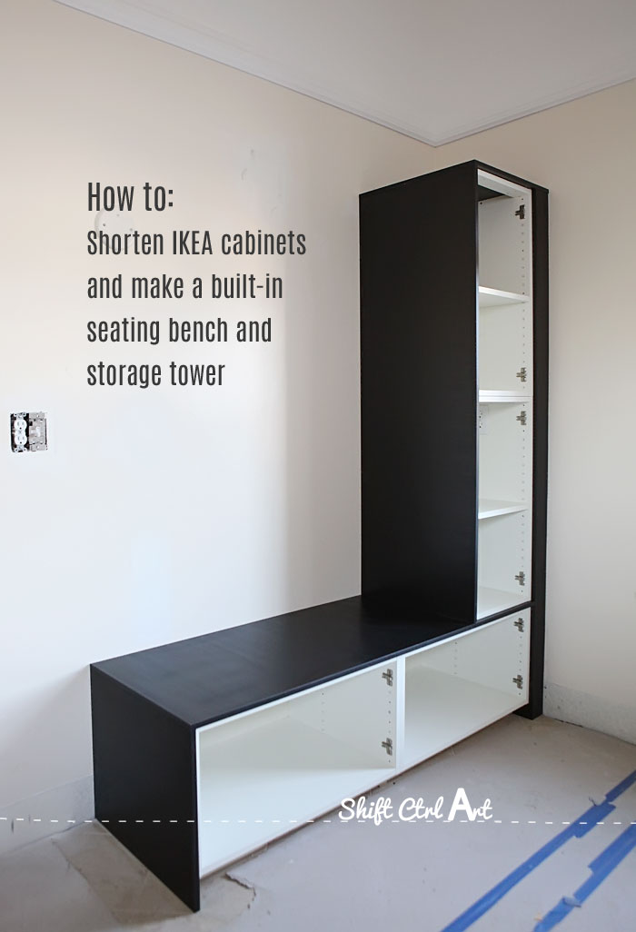 #DIY IKEA cabinet hack to built in bench. Tutorial shows how to shorten the depth of the cabinets, then dealing with the backing and shelving