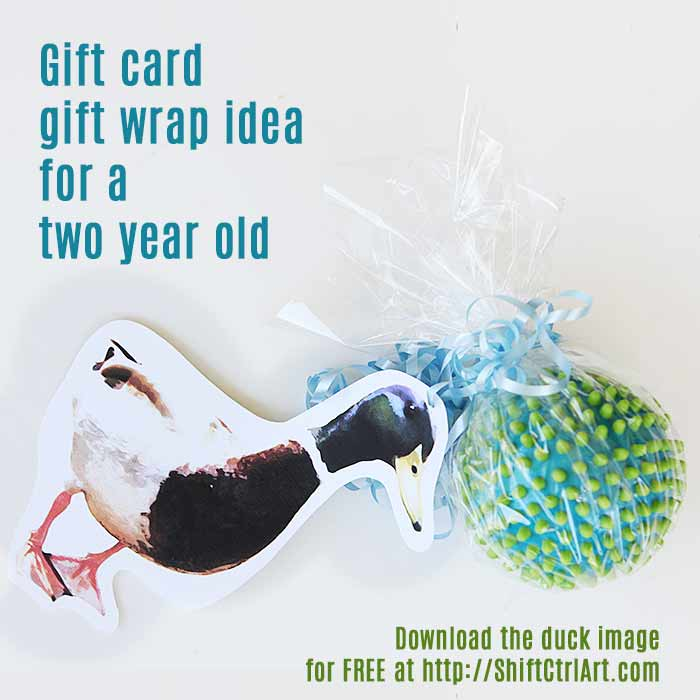 Giftwrap gift card idea for two year old