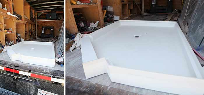 Master bath pan installation finding rectangle drop in sink 1