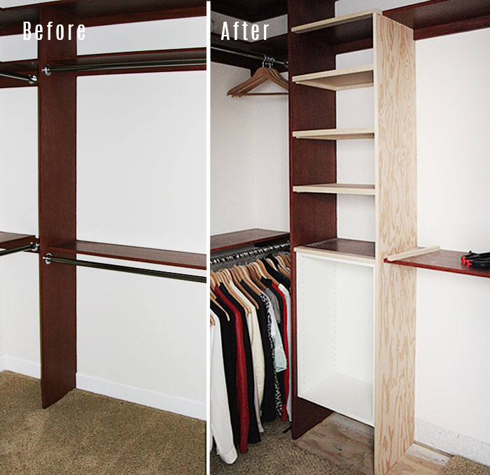 Master closet new shelves 1