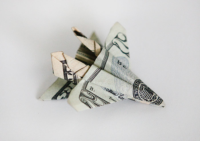 gifting money with origami F 18 fighter jet
