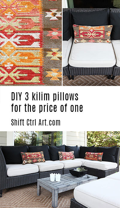 #DIY 3 #kilim #pillows for price of one #sewing #outdoor #patio #decor