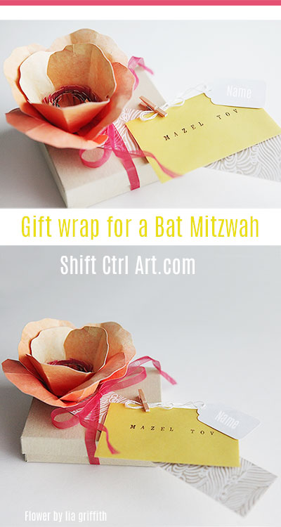 #Gift #wrap for a #bat #mitzvah using a #liagriffith #flower