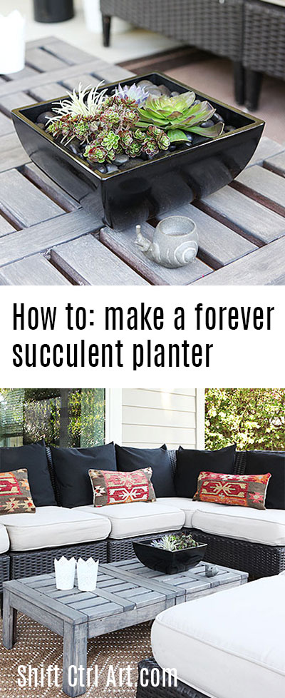 #Patio #lounge: new #rug and #pillows and how to make a #forever #succulent #planter