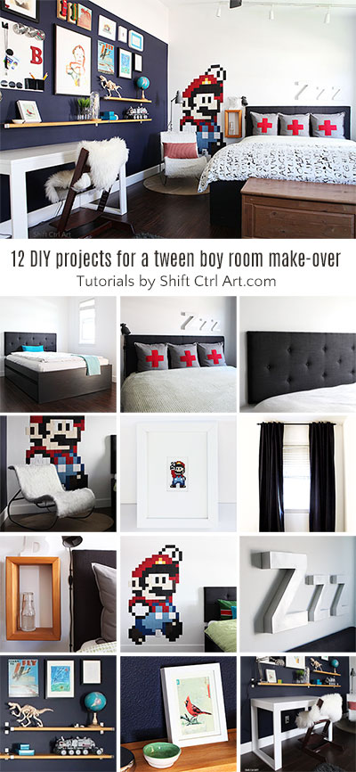 #Tween #boy #bedroom #reveal - 12 + DIYs: queen bed with trundle, #desk, shelves, etc