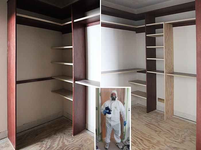#Master #walk #closet #progress painted drawers + knobs intalled