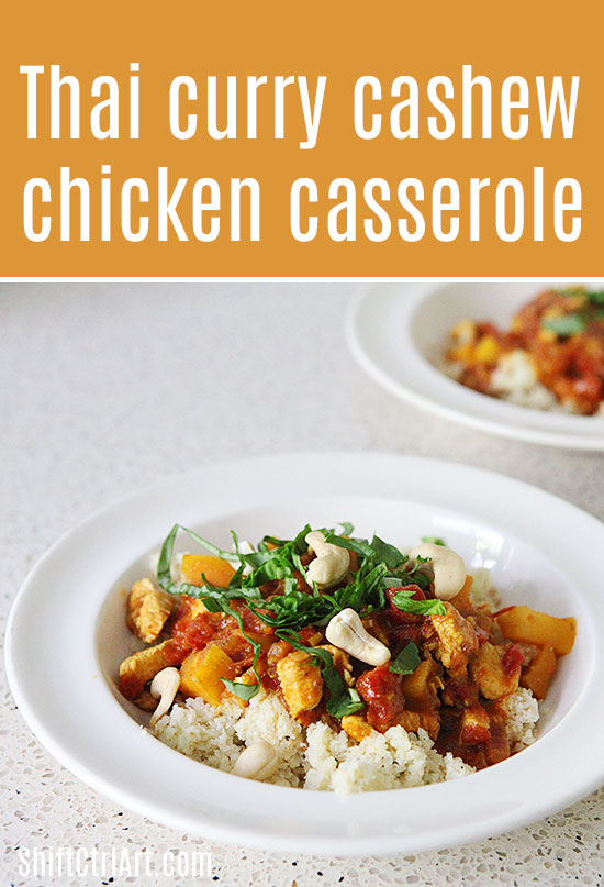 #Thai #curry #cashew #chicken #casserole with fresh #basil