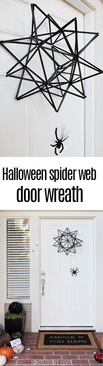 #DIY #Halloween spider web door wreath