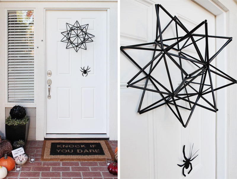 Halloween straw spider web wreath