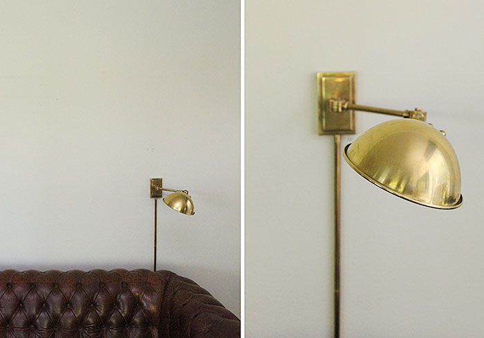 Living room gallery wall and new brass lamp