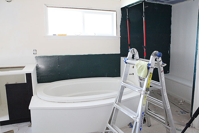 Master bath tiling and marble