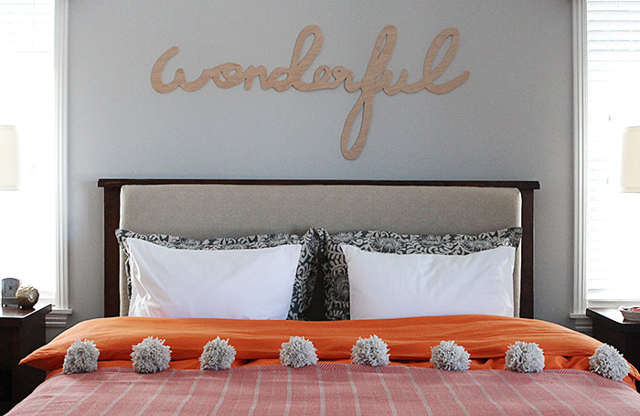 Upholstered headboard insert DIY and pillows
