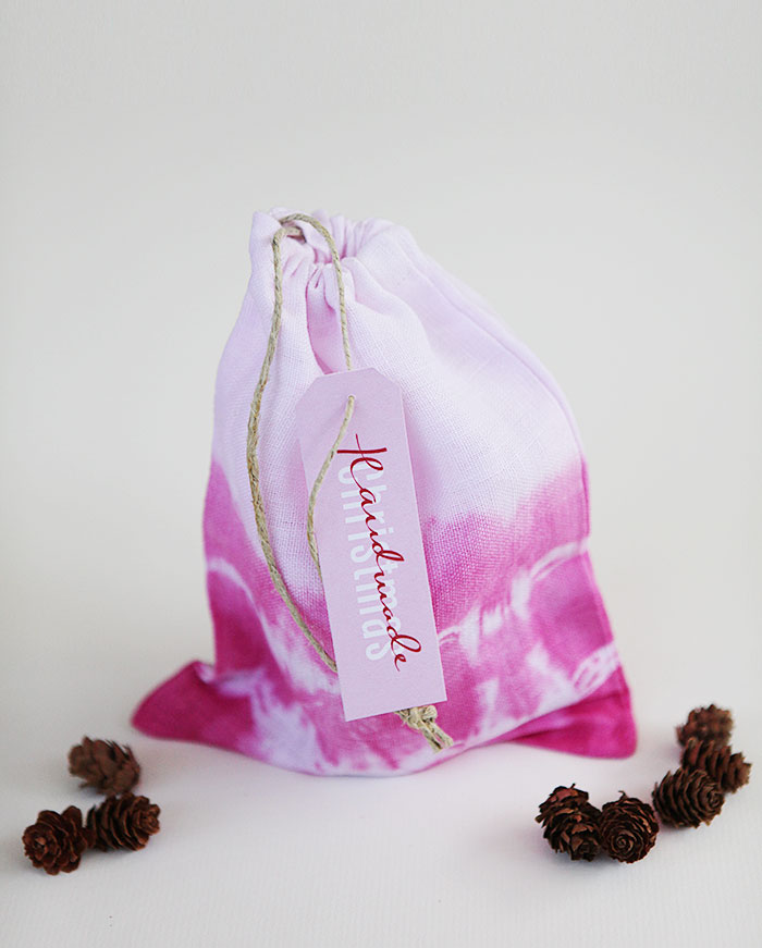 Handmade berry candy in tie dyed gift bag