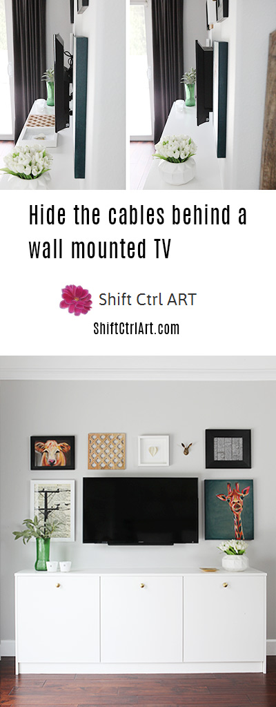 Hide the cables behind a wall mounted TV