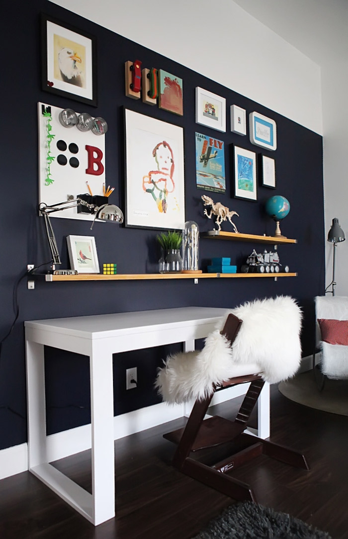 Bs blue wall tween make over reveal diy desk and shelves IKEA hack 3