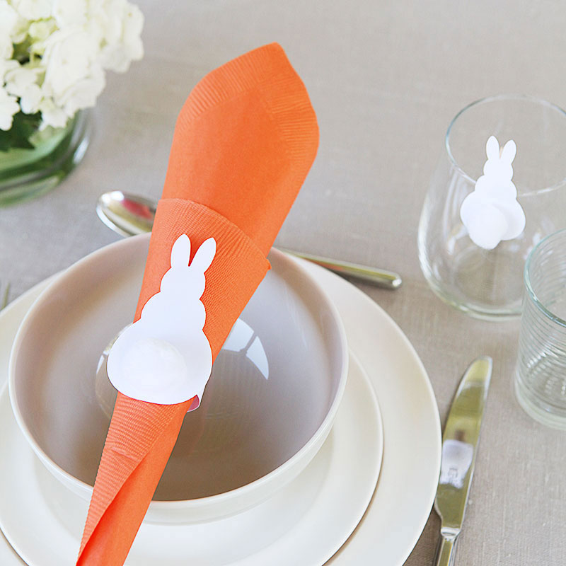 Easter bunny napkin ring glass clip 6
