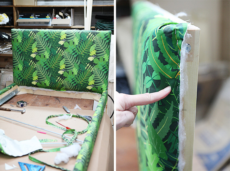 How to upholster a bedframe with piping