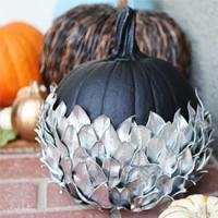 Silver leaf pumpkin - decorating outside for Halloween